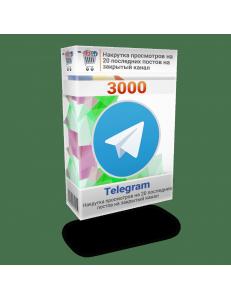 Фото Накрутка 3000 просмотров Телеграм на 20 последних постов на закрытый канал